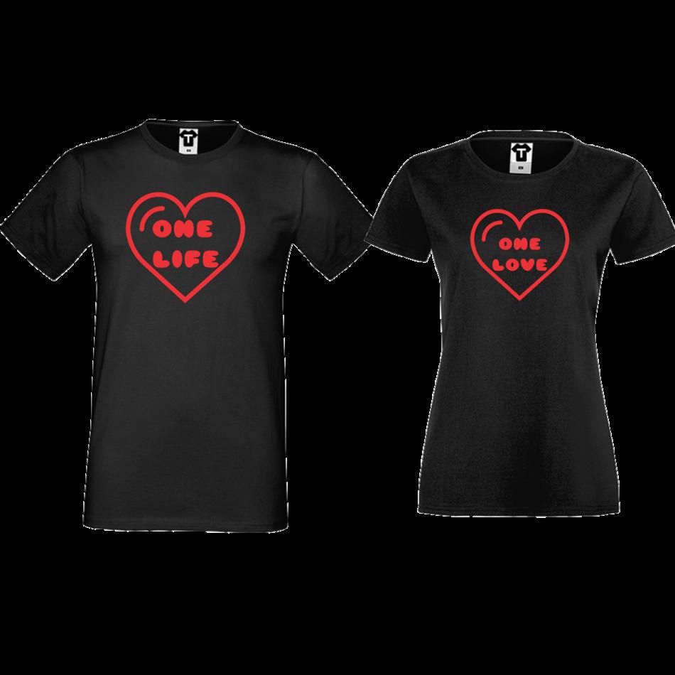 Tričká pre páry čierne One Life - One Love (D-CP-107B)