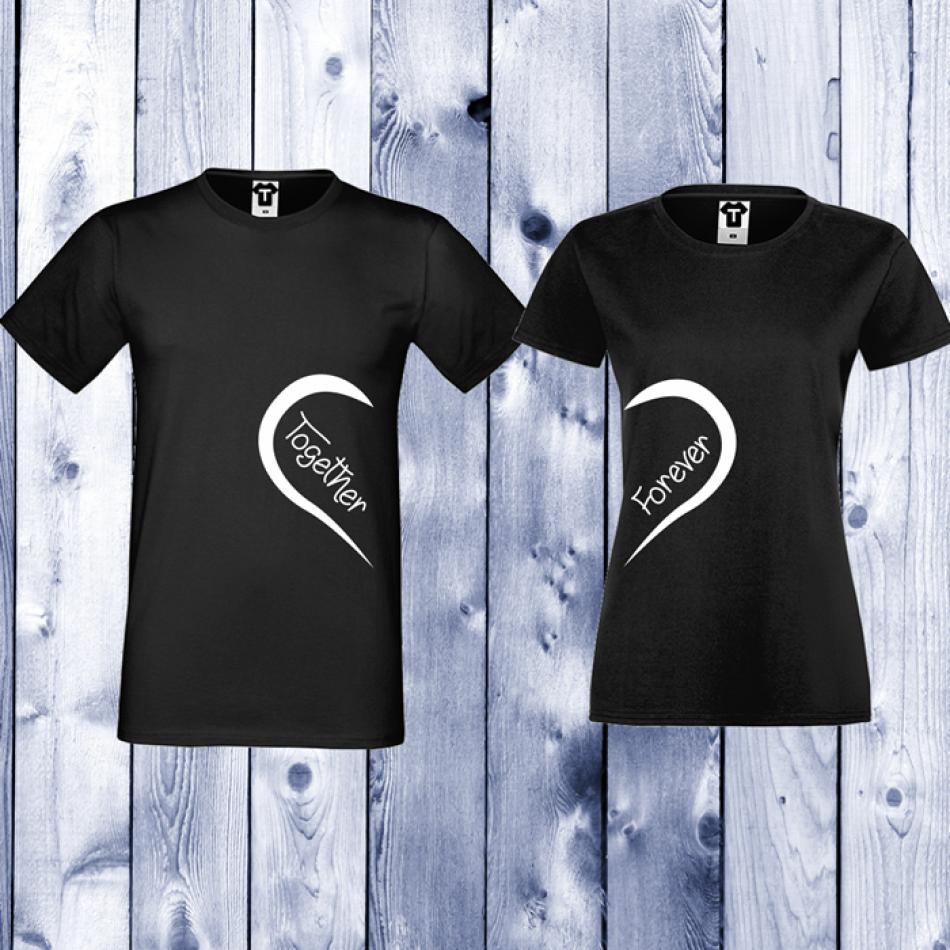 Tričká pre páry čierne Together Forever (D-CP-093B)