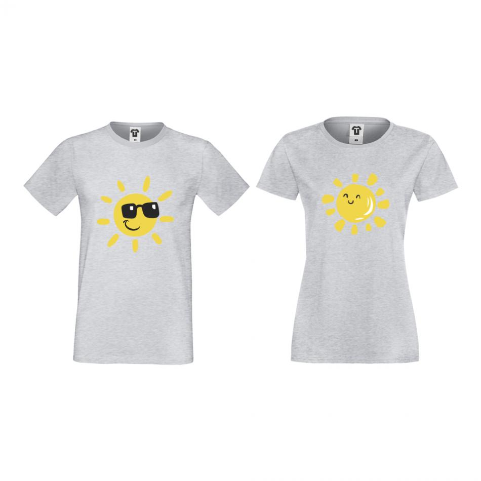Tričká pre páry šedé Sun, Smile and Sunglasses (D-CP-036G)