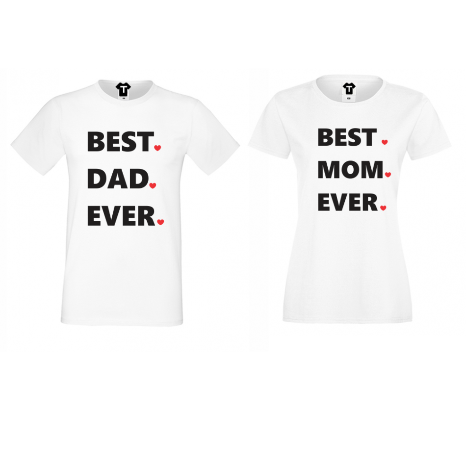Tričká pre páry biele Best Dad and Mom Ever (D-CP-001)