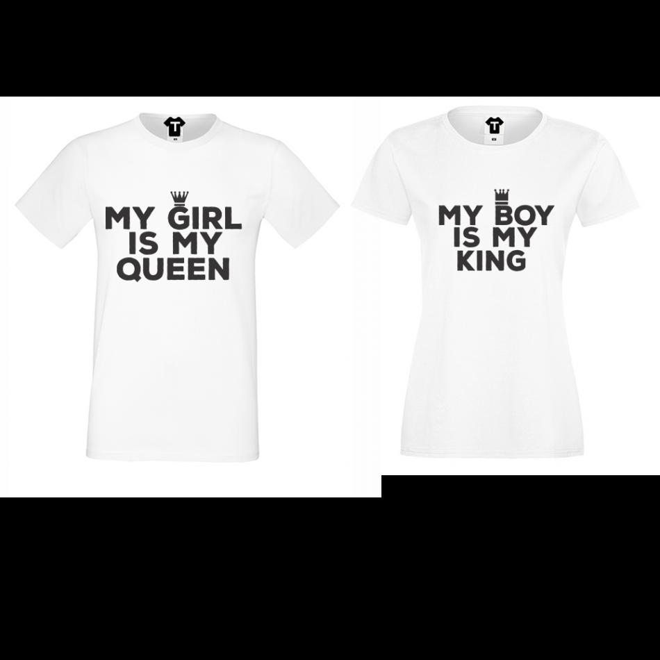 Tričká pre páry biele My Girl Is My Queen (D-CP-106)