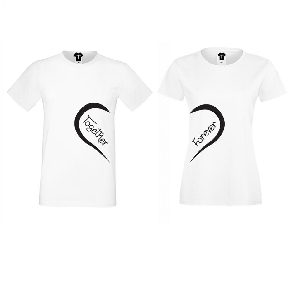 Tričká pre páry biele Together Forever (D-CP-093)