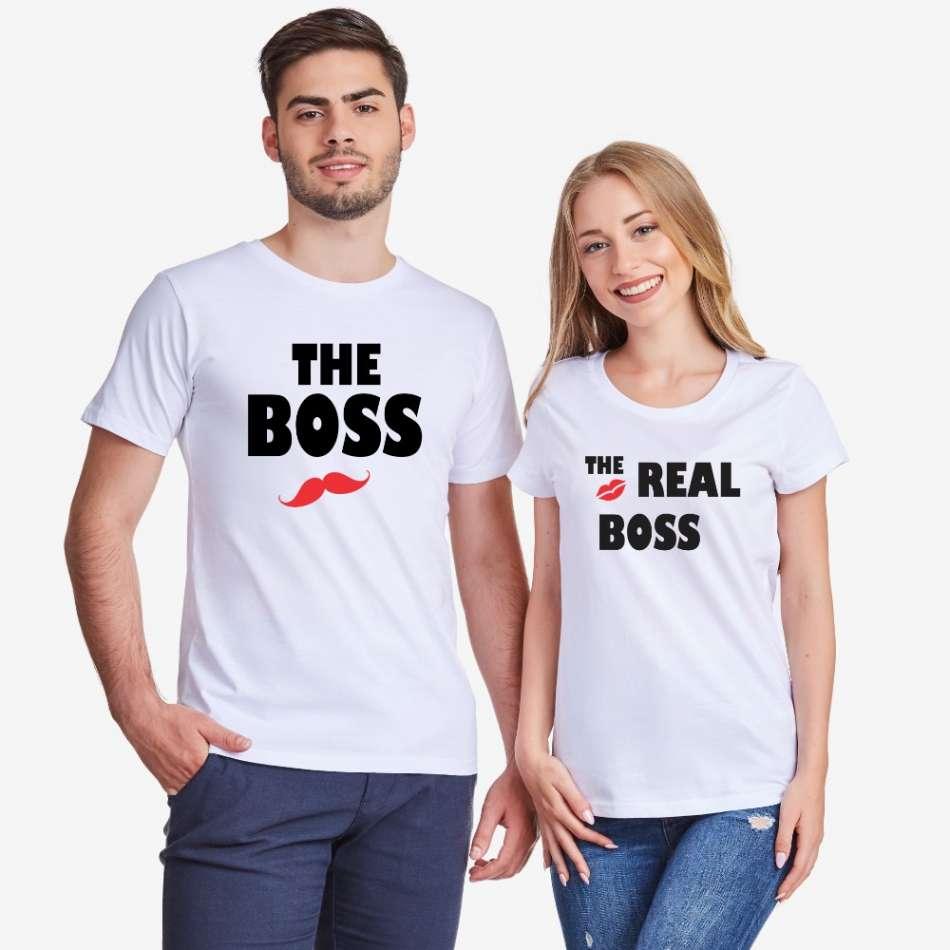 Tričká pre páry The Real Boss Kiss (D-CP-163)