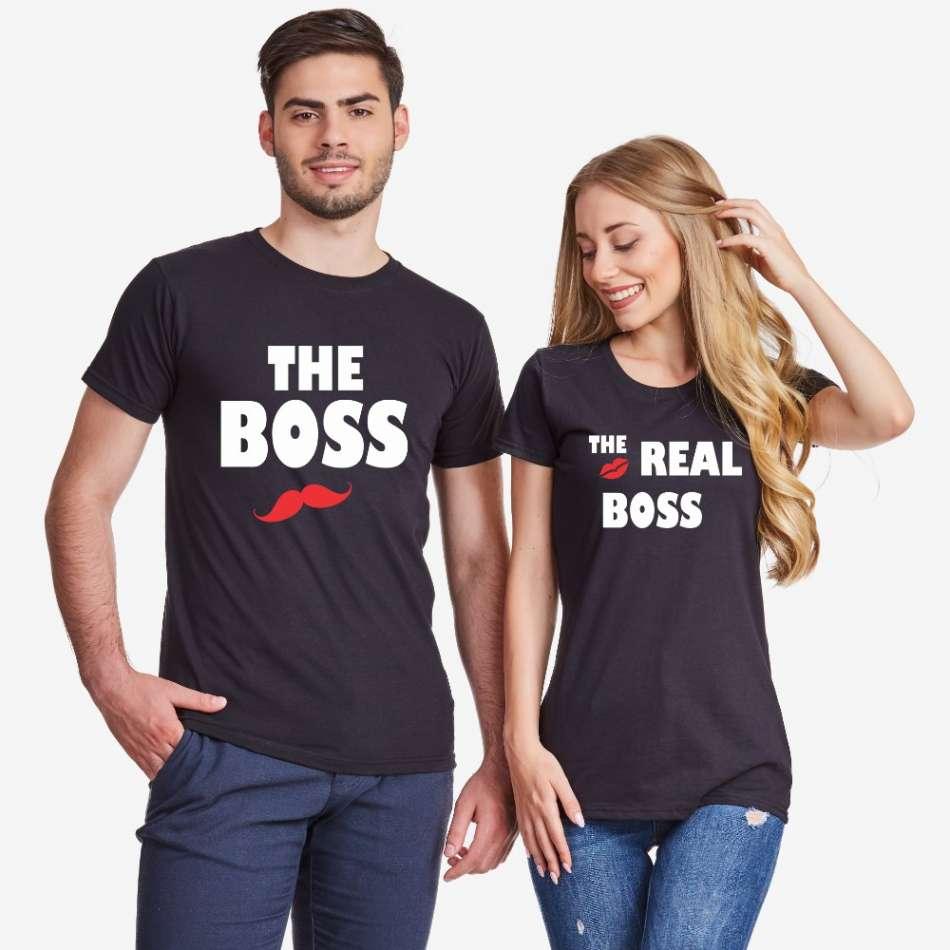 Tričká pre páry The Real Boss Kiss (D-CP-163B)