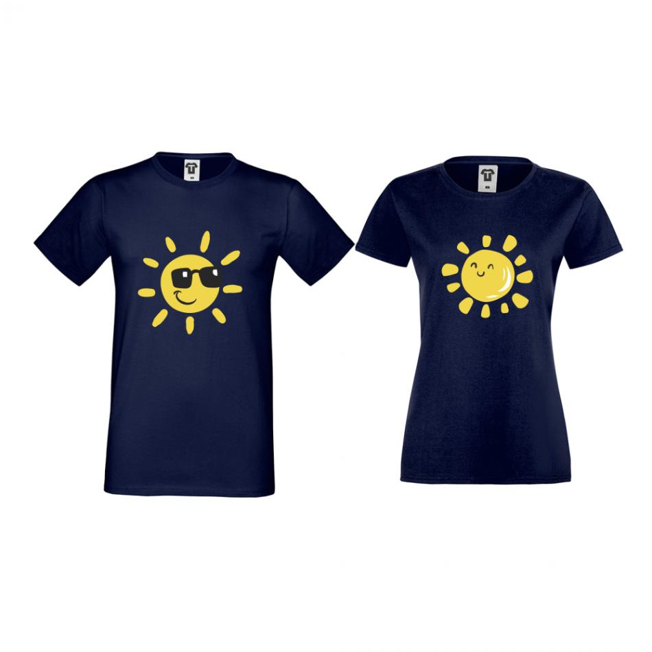 Tričká pre páry v tmavomodrej farbe Sun, Smile and Sunglasses (D-CP-036N)