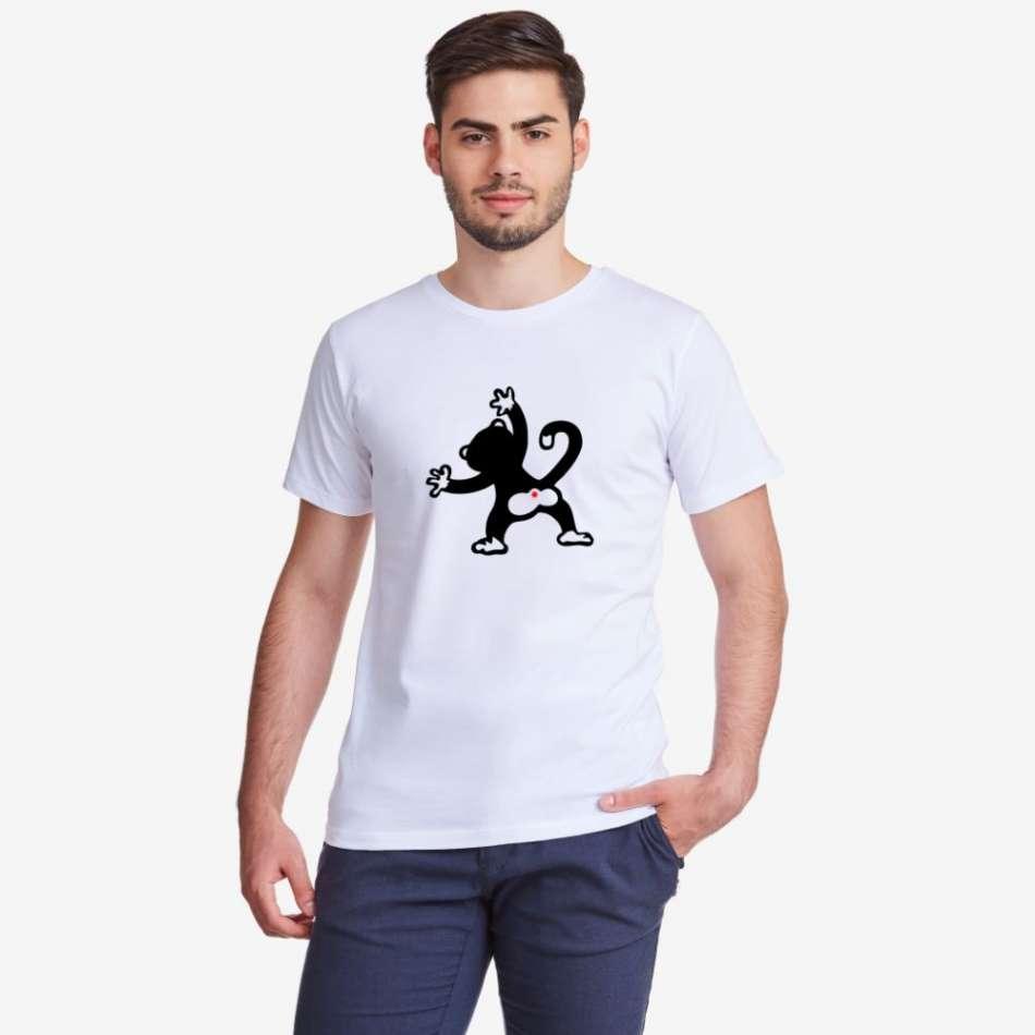 Pánske biele alebo čierne tričko Monkey