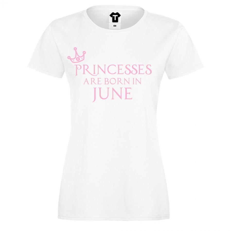 Dámské tričko Bílé Princesses Are Born In June (D-W-208-6)