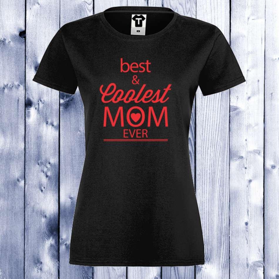 Dámske tričko čierne Best and Coolest Mom 2 (D-W-124B)