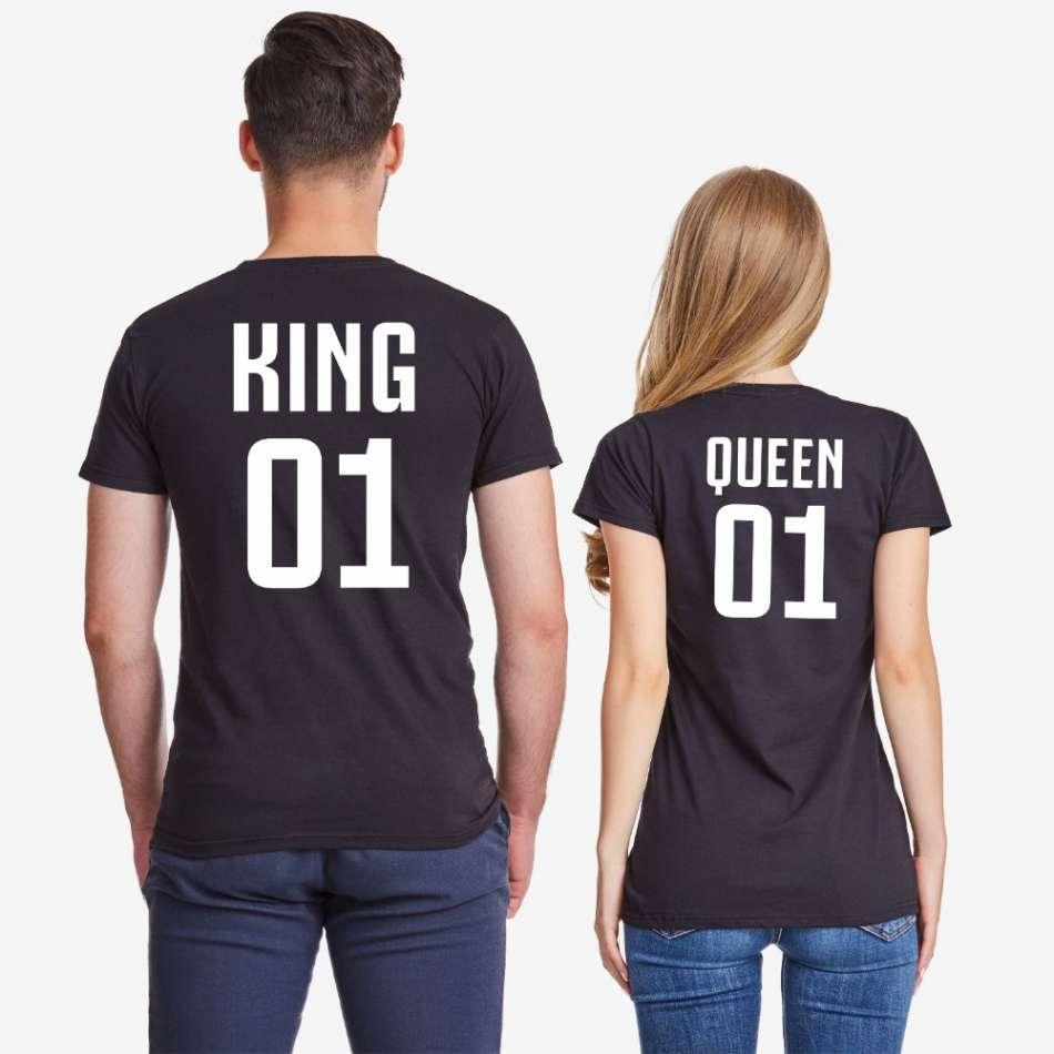 Tričká pre páry v biele alebo čierne farbe King 01 и Queen 01