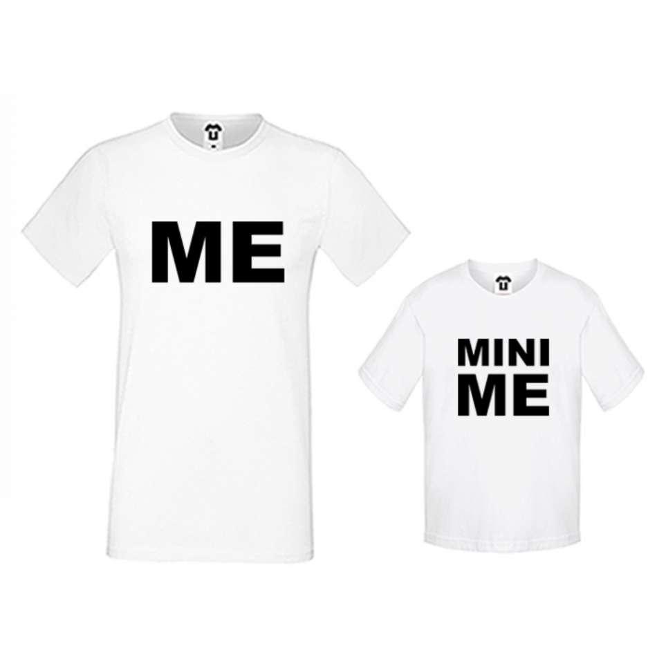 Pánske a detské tričko v čierne alebo biele farbe Me and Mini Me