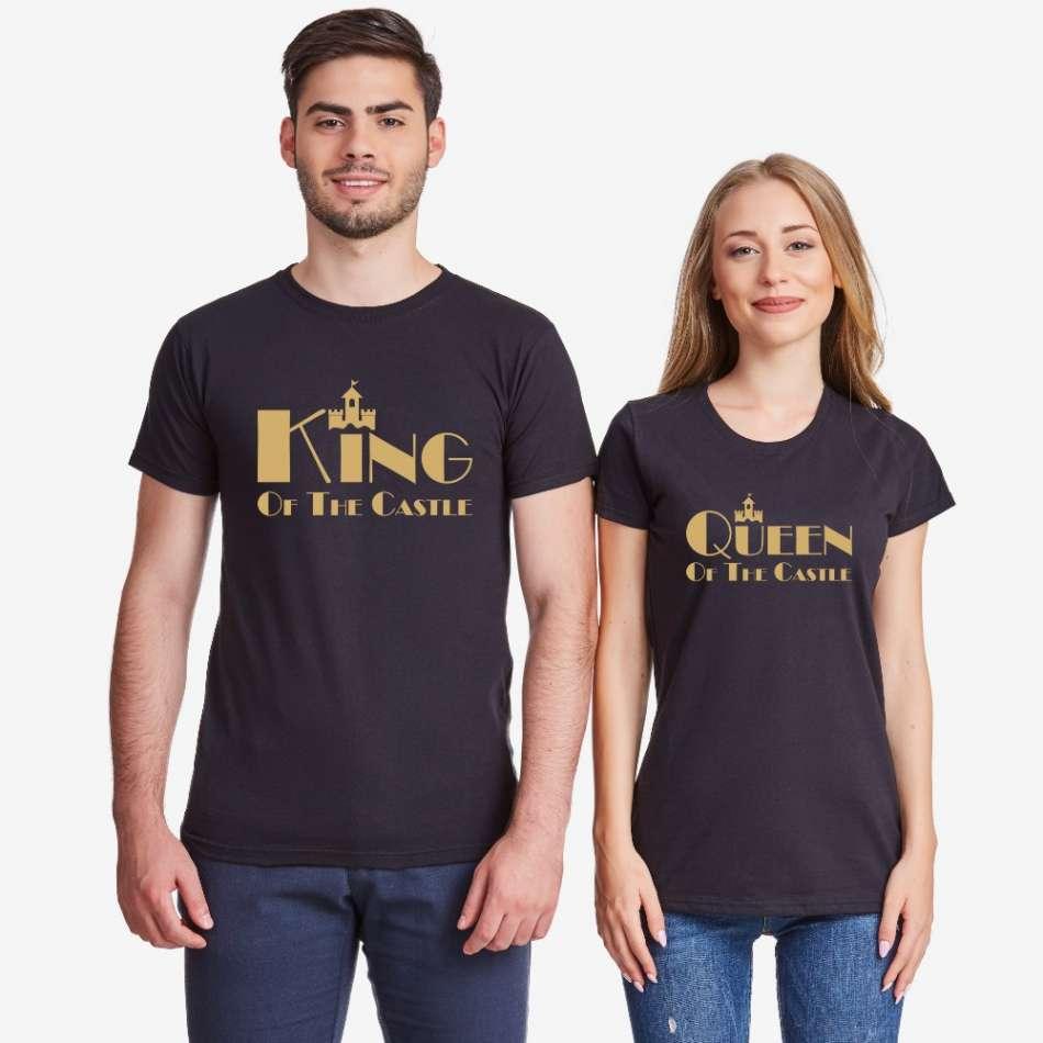 Tričká pre páry v biele alebo čierne farbe King and Queen of the castle