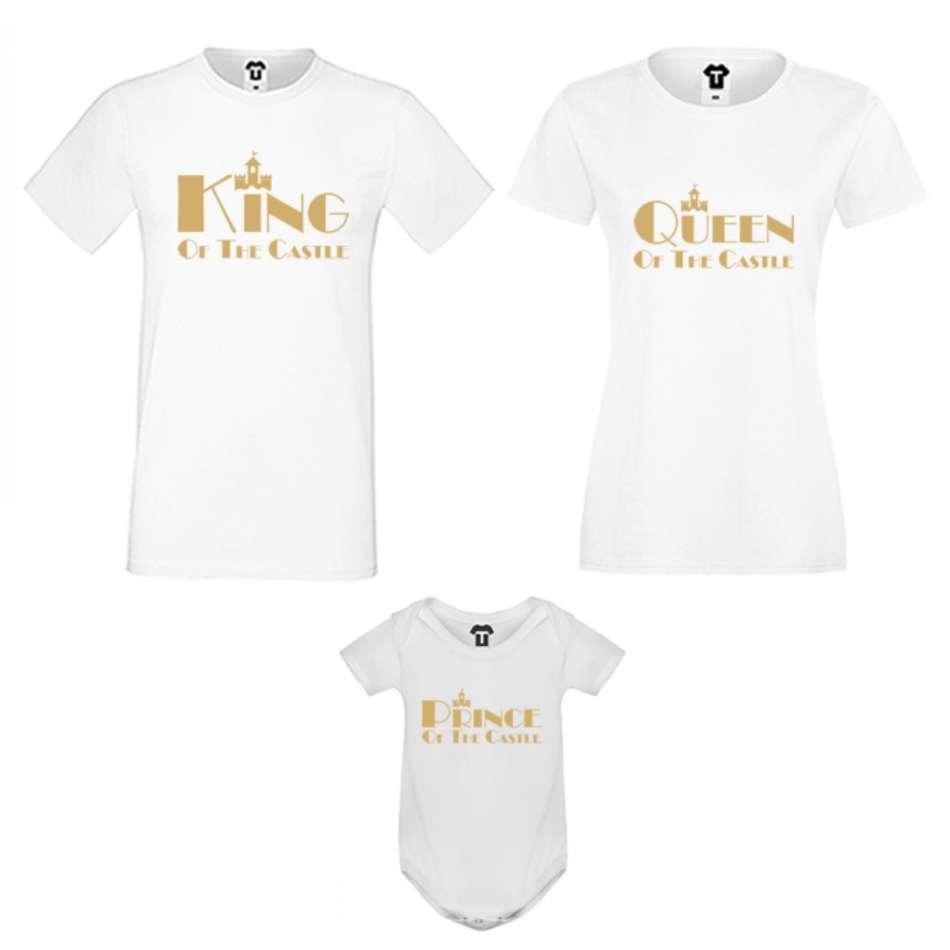 Rodinný set v čierne alebo biele farbe King, Queen and Prince of the castle