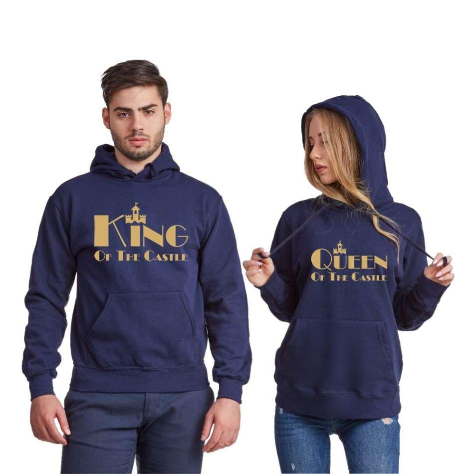 Tmavomodré alebo šedé mikiny pre páry King and Queen of the castle