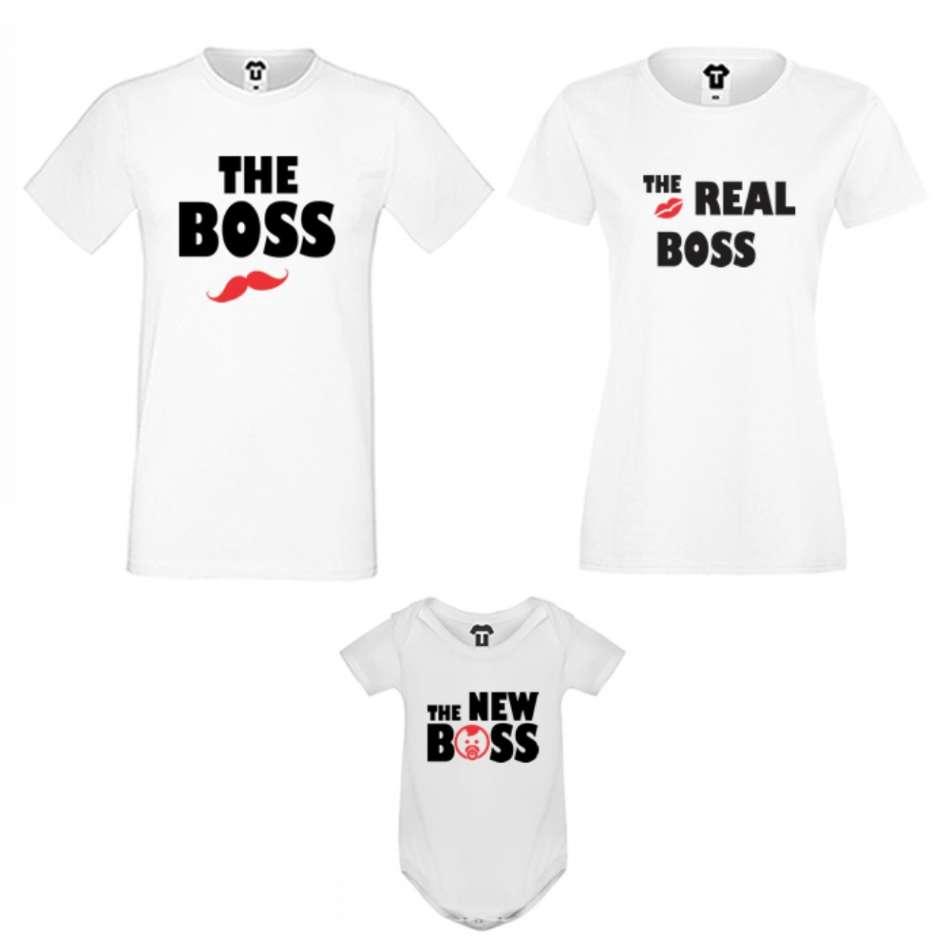 Rodinný set v čierne alebo biele farbe The Boss, The Real Boss and The New Boss Girl