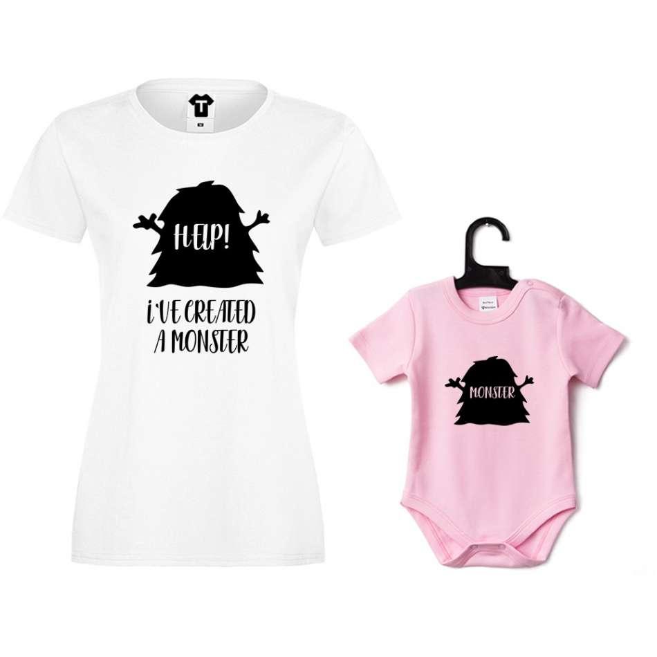 Dámske tričko a ružové detské body Help! I have created a monster