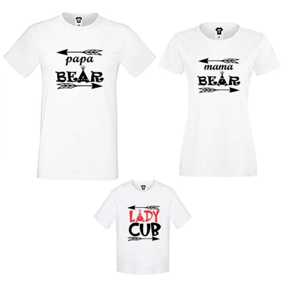 Rodinné tričká v bielej alebo čiernej farbe Bear Family