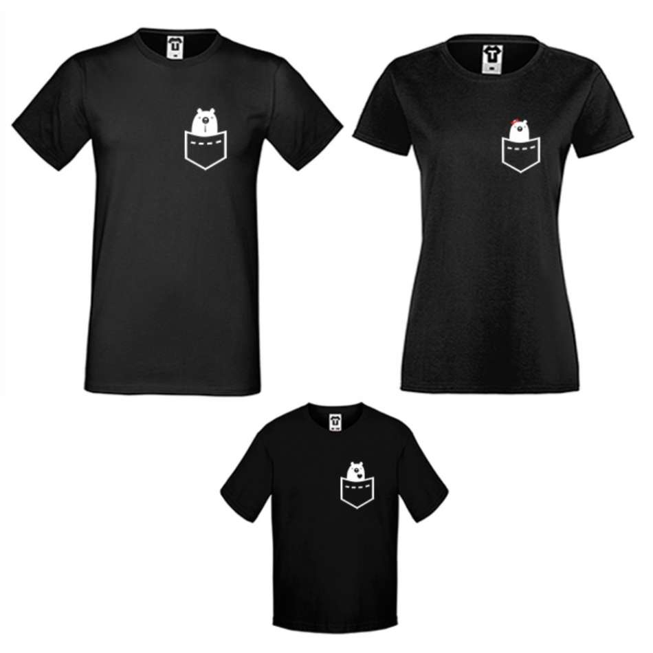 Rodinné tričká v bielej alebo čiernej farbe Pocket Bears