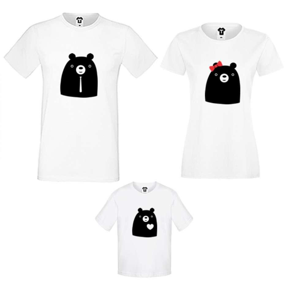 Rodinné tričká v bielej alebo čiernej farbe Big Bears