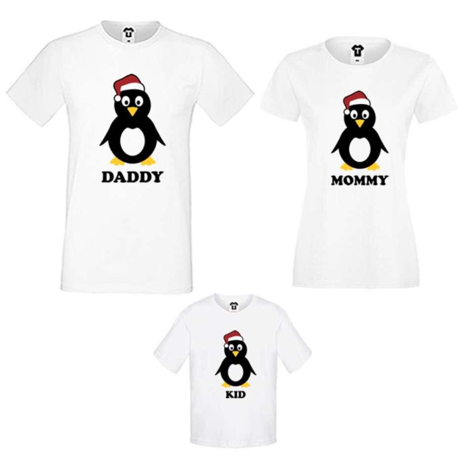Rodinné tričká v bielej alebo čiernej farbe Penguin Family