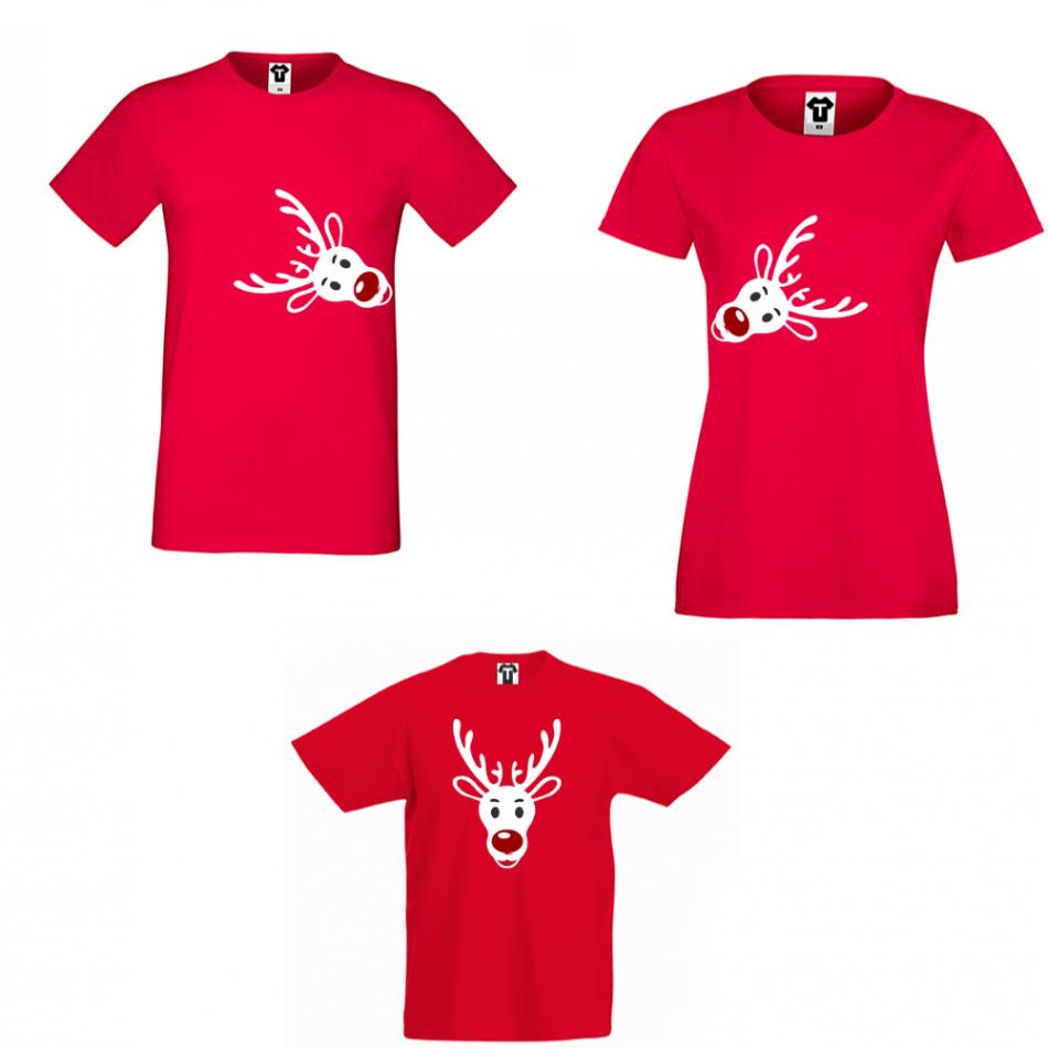 Rodinný set tričiek v červenej farbe Rudolph