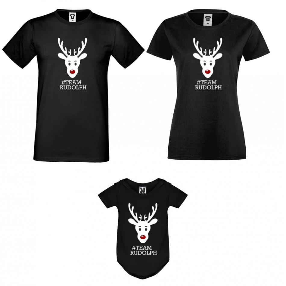 Rodinný set v čiernej farbe #Team Rudolph