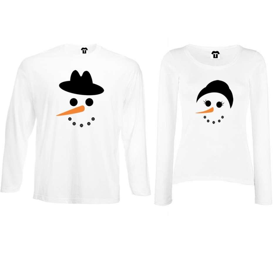 Biele alebo čierne tričká pre páry s dlhým rukávom Snow Family