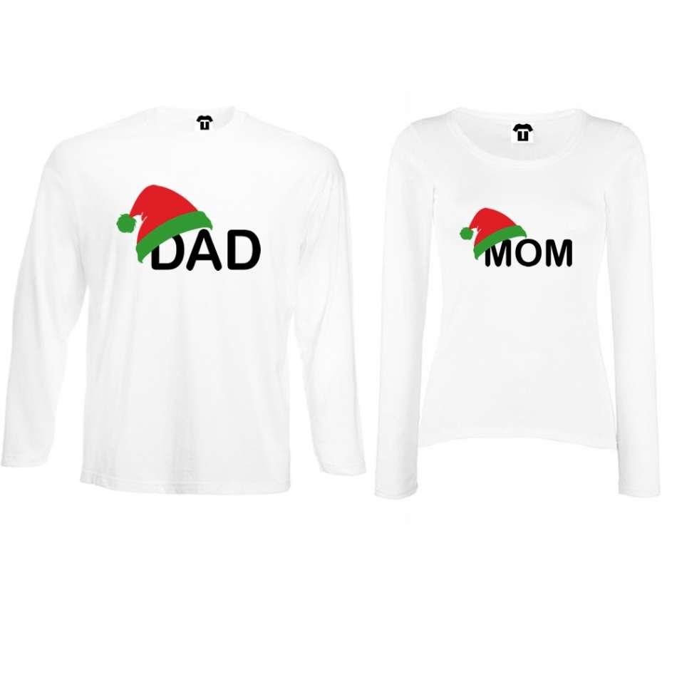 Biele alebo čierne tričká pre páry s dlhým rukávom Family Christmas Hats