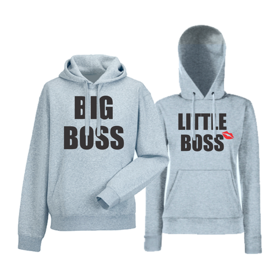 Komplet mikiny s kapucňou pre páry Big and Little Boss (HD-CP-170G)