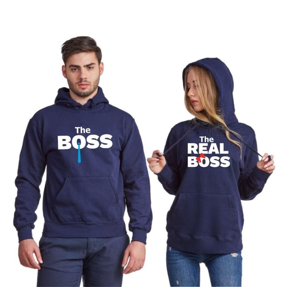 Tmavomodré mikiny pre páry  The Real Boss Tie