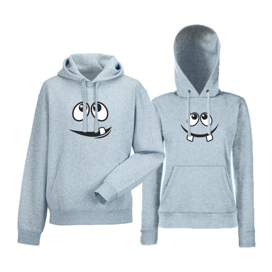 Komplet mikiny s kapucňou pre páry šedé Smile (HD-CP-014G)