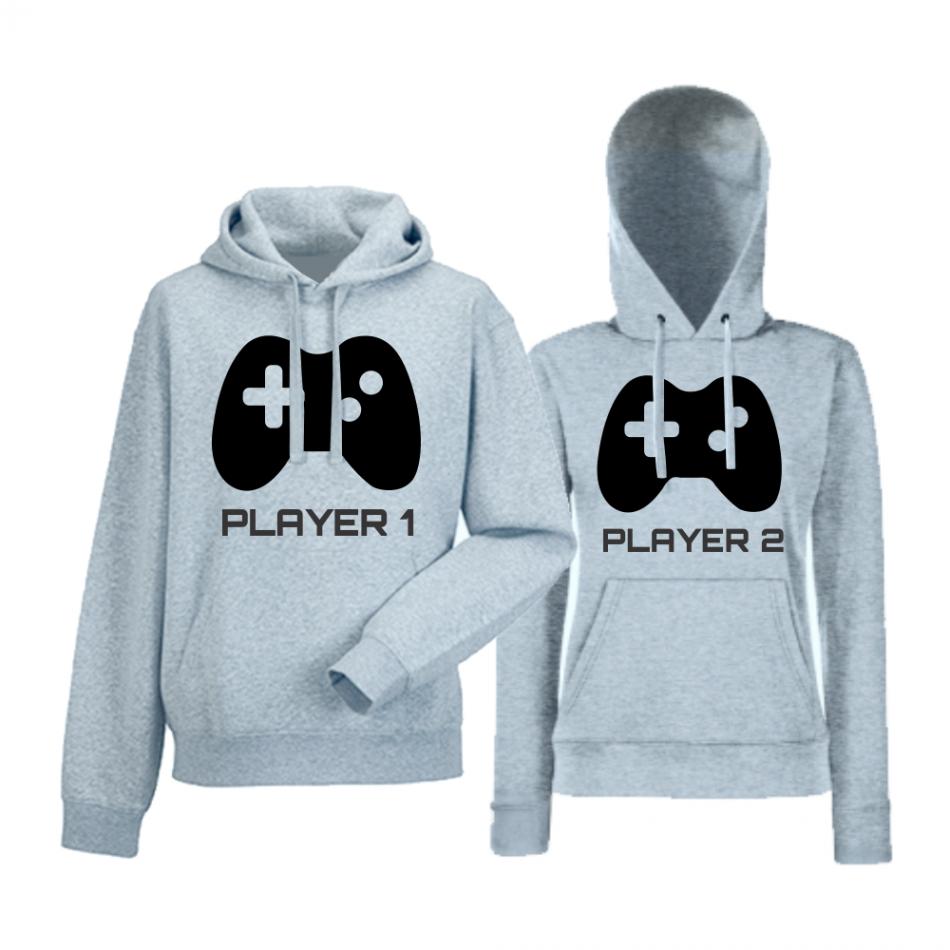 Komplet mikiny s kapucňou pre páry Player 1 - Player 2 (HDS-CP-052G)