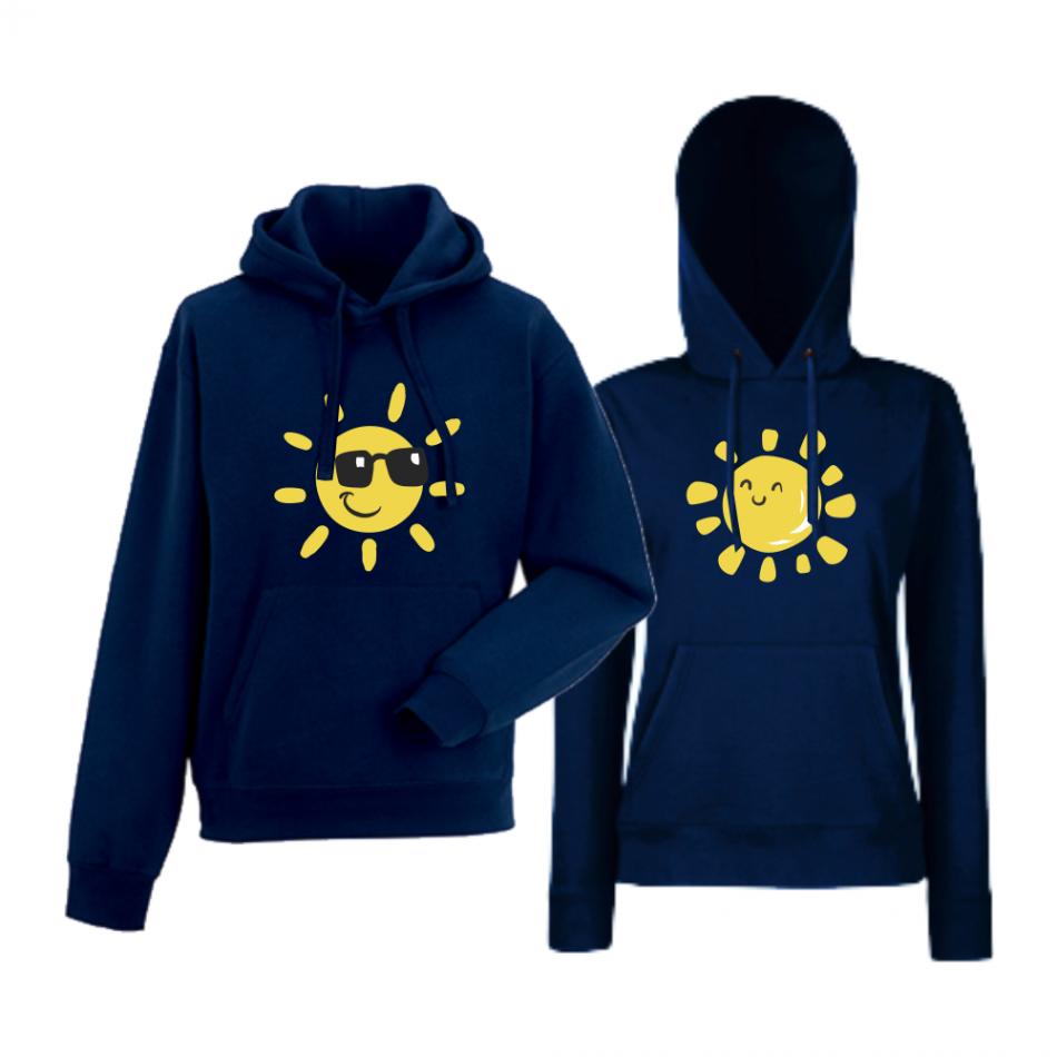 Komplet mikiny s kapucňou tmavomodré Sun, Smile and Sunglasses (HD-CP-036N)