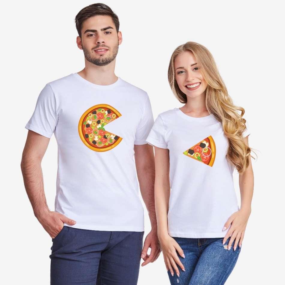 Biele tričká pre páry Pizza Slices