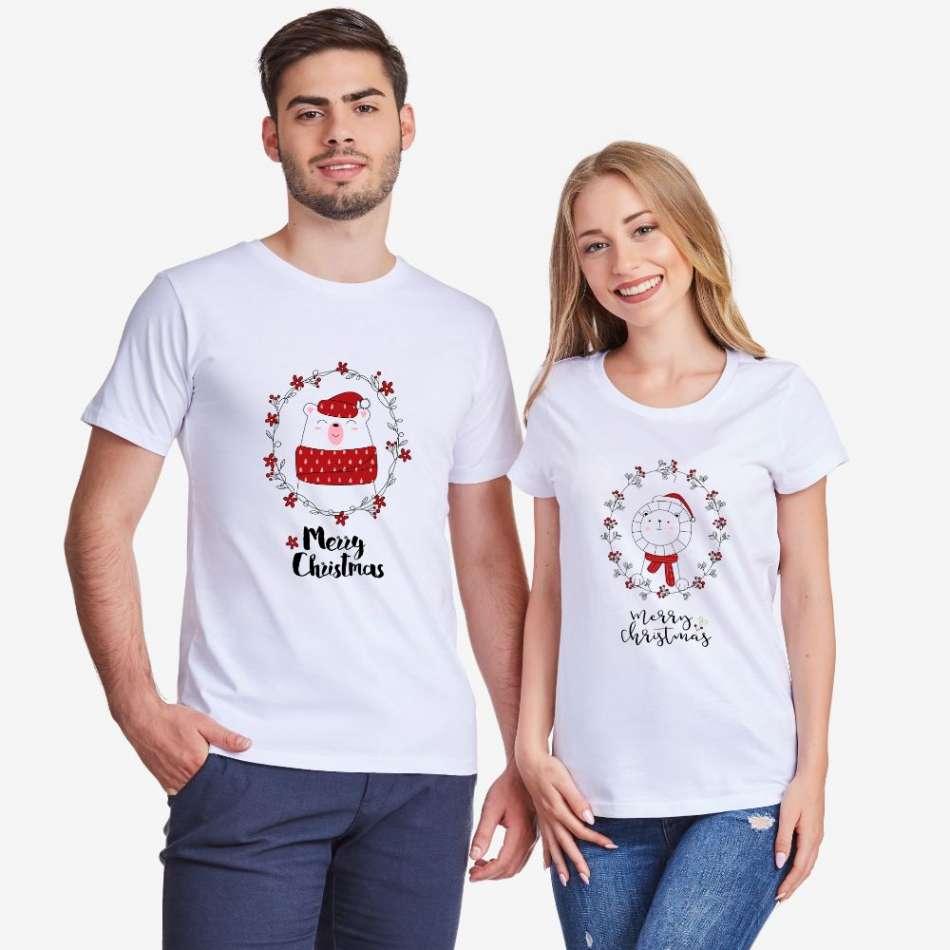Biele tričká pre páry Merry Christmas Couple