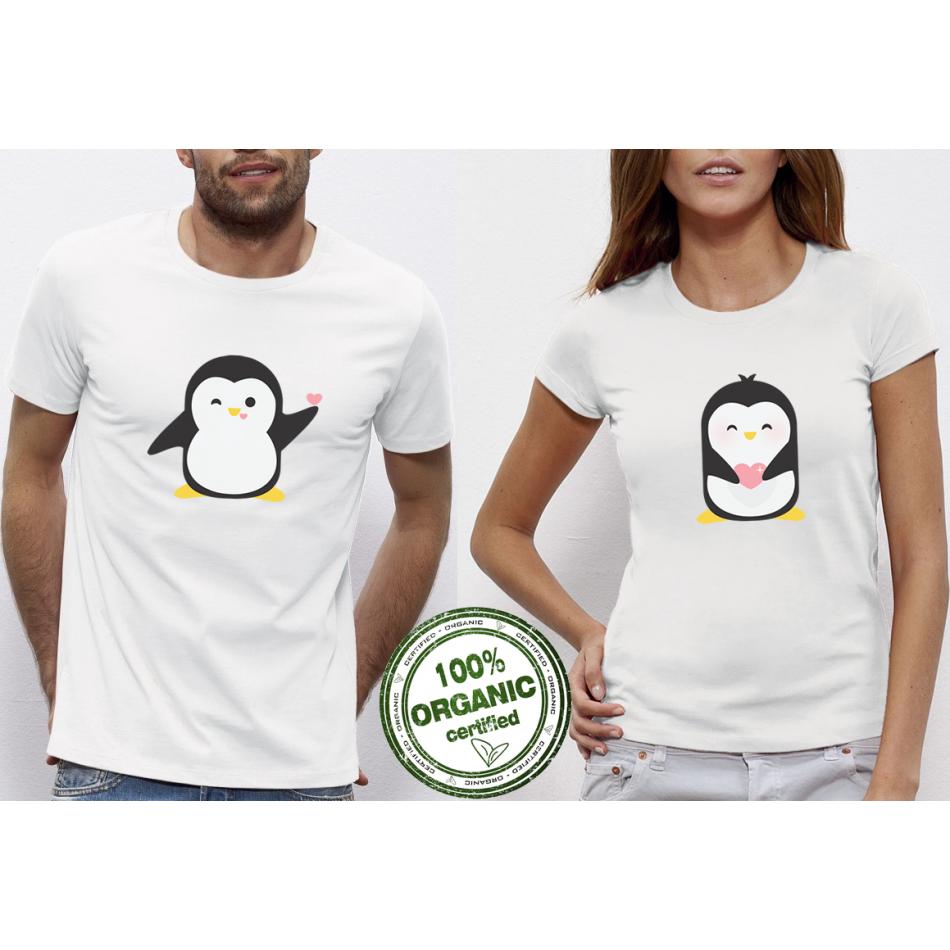 Tričká pre páry biele Penguin Love (P-CP-073)