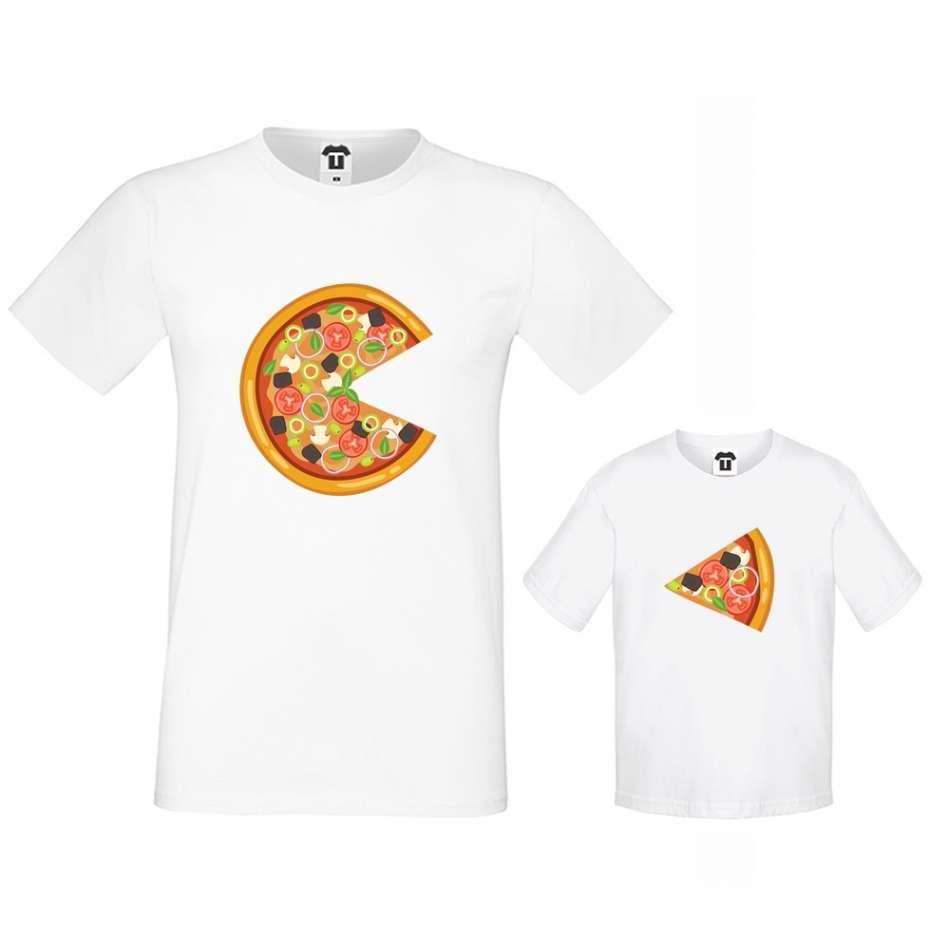 Biele tričká pre otca a dieťa Pizza Slices