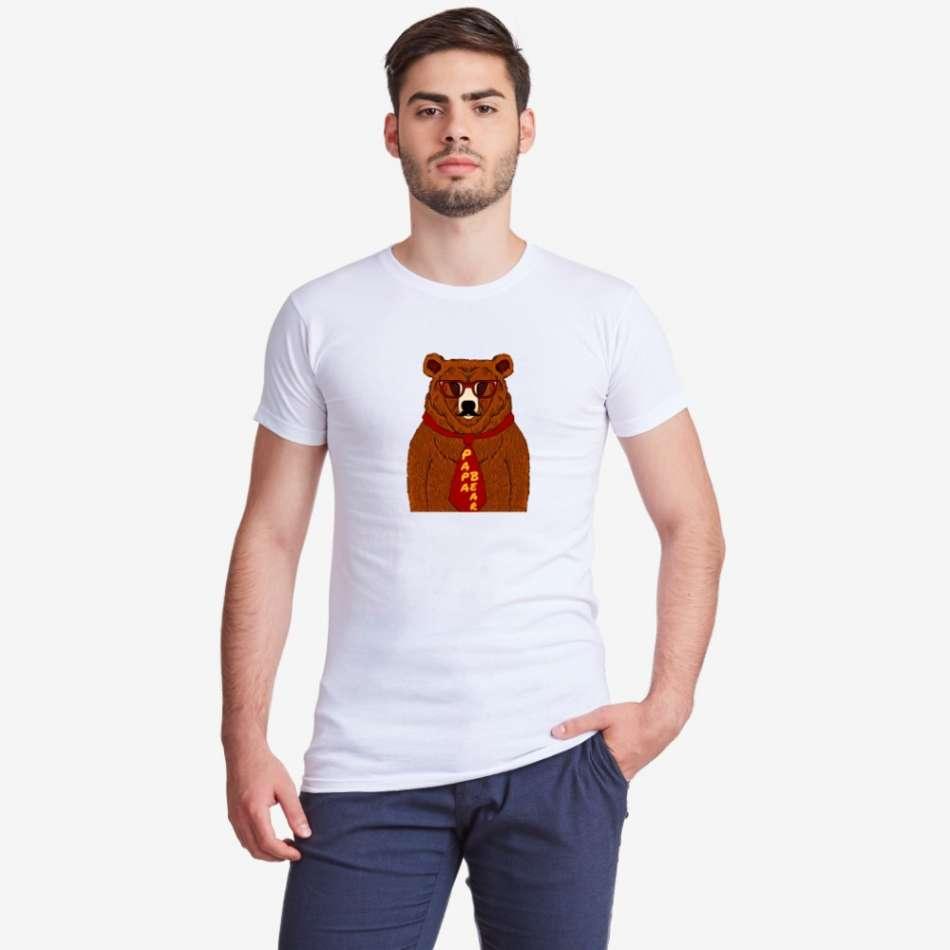 Pánske biele tričko s potlačou Papa Bear Animated