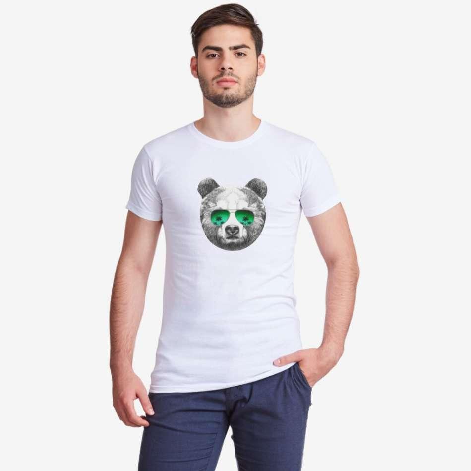Pánske biele tričko s potlačou Bear with Sunglasses