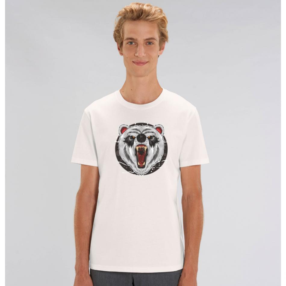 Biele pánske tričko zo 100% organickej bavlny Bear Roar Animiated