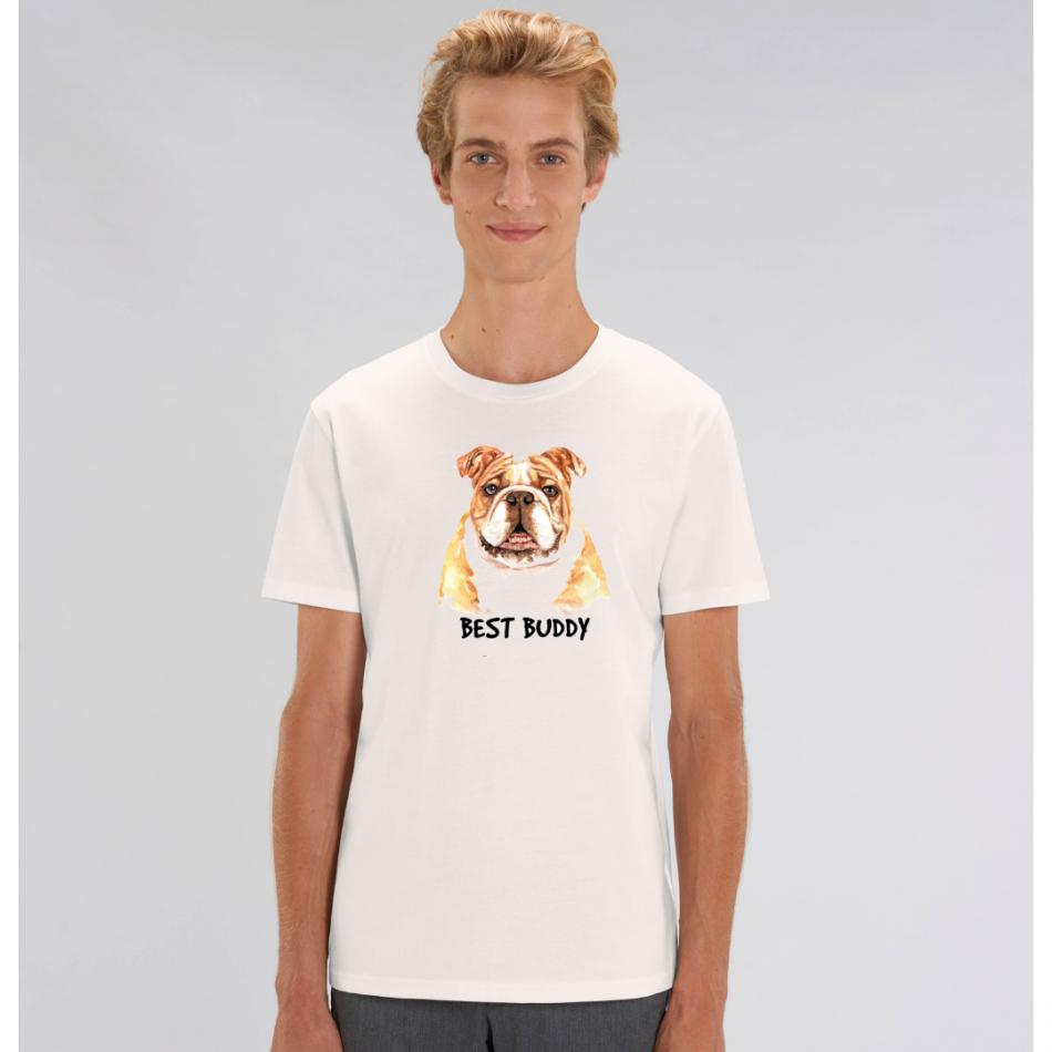 Biele pánske tričko zo 100% organickej bavlny Best Buddy