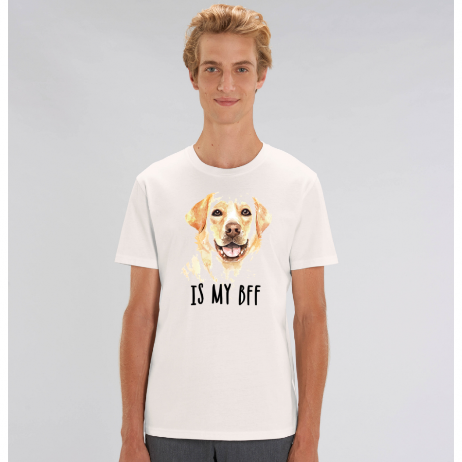 Biele pánske tričko zo 100% organickej bavlny Dog BFF