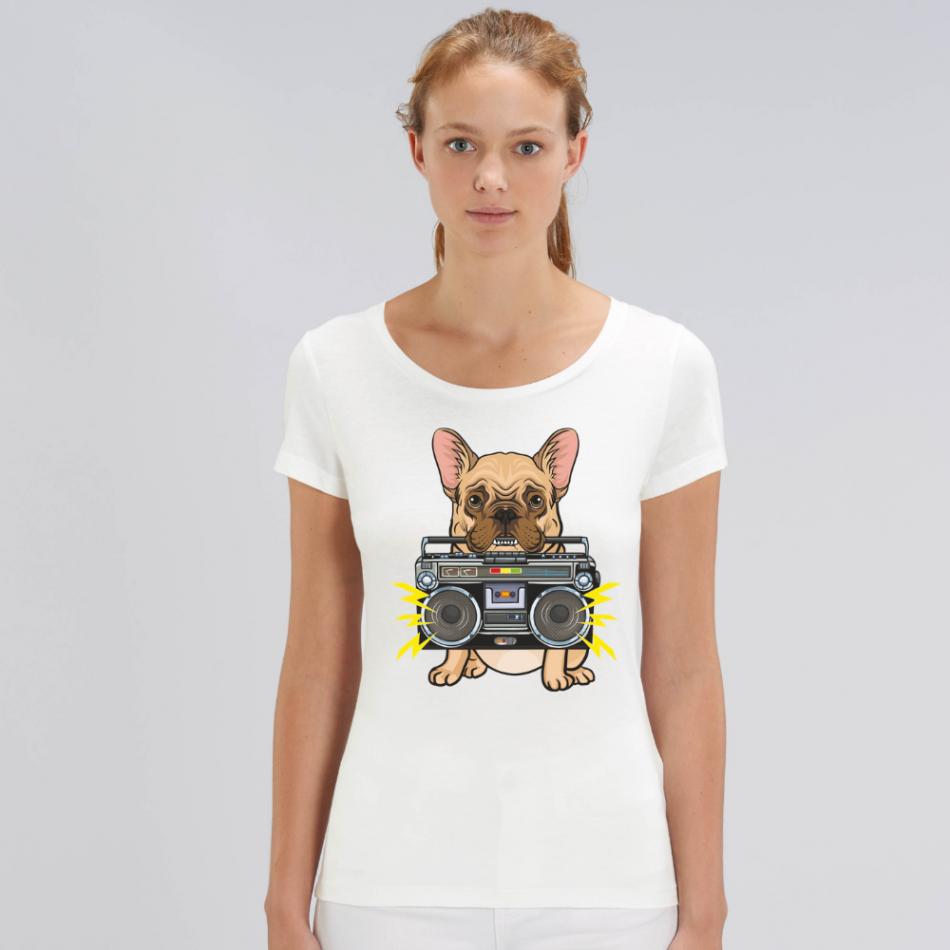 Dámske biele tričko z organickej bavlny Music Dog
