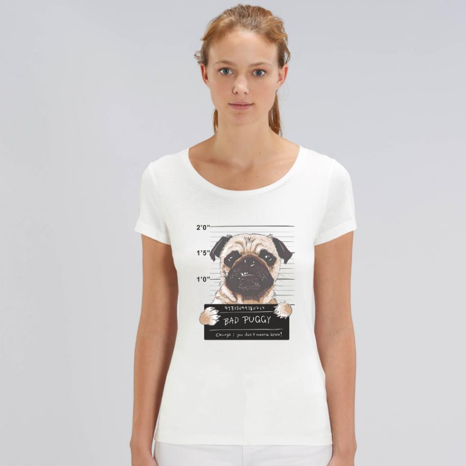 Dámske biele tričko z organickej bavlny Bad Puggy