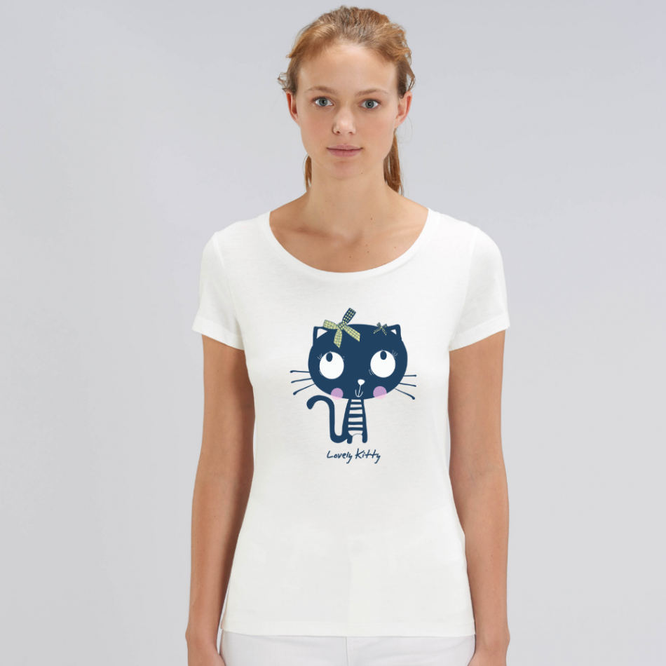Dámske biele tričko z organickej bavlny Lovely Kitty