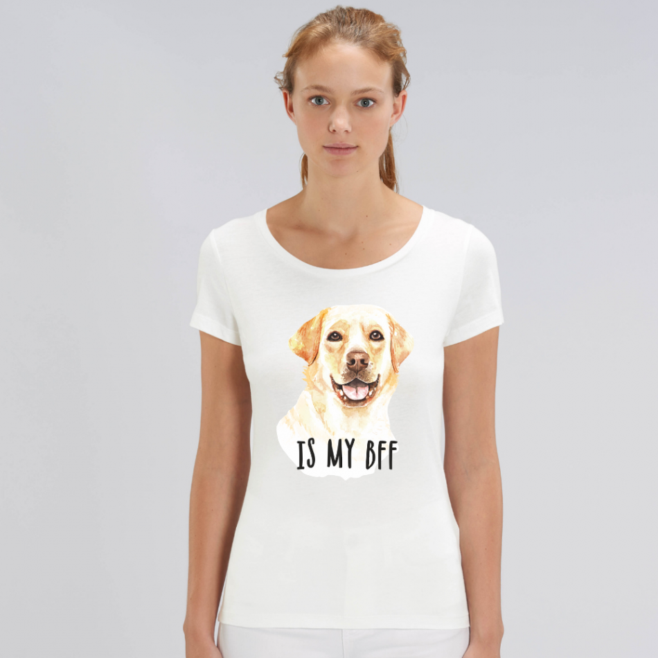 Dámske biele tričko z organickej bavlny Dog BFF