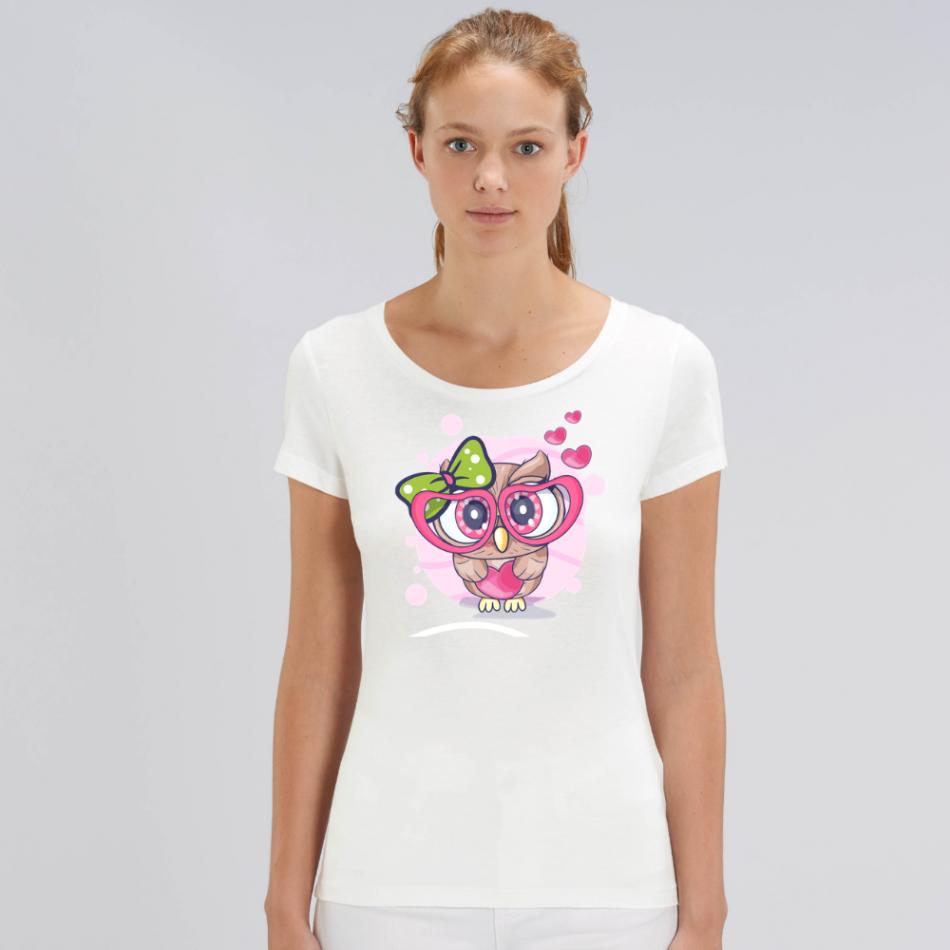 Dámske biele tričko z organickej bavlny Owl in Love