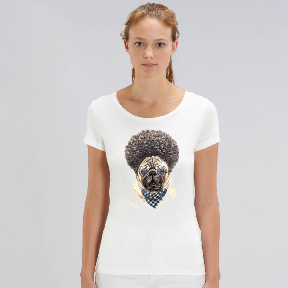Dámske biele tričko z organickej bavlny Afro Dog