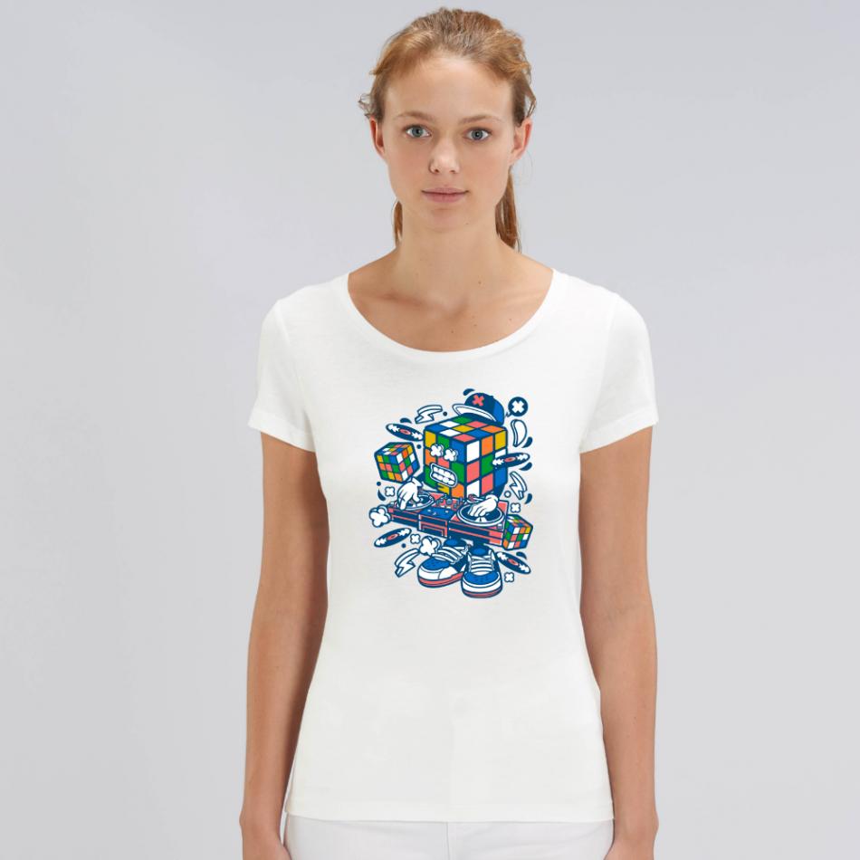 Dámske biele tričko z organickej bavlny Rubik's Cube Music
