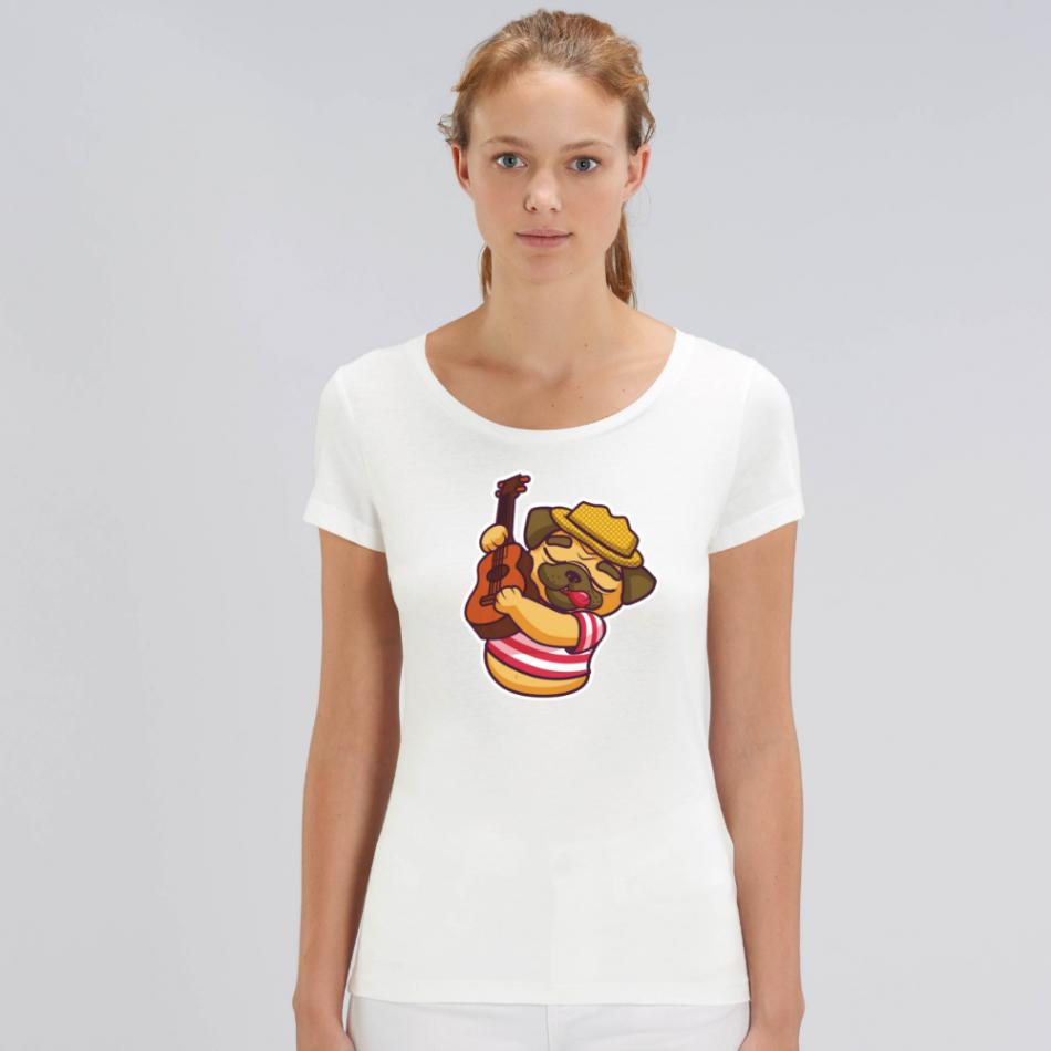 Dámske biele tričko z organickej bavlny Guitar Dog
