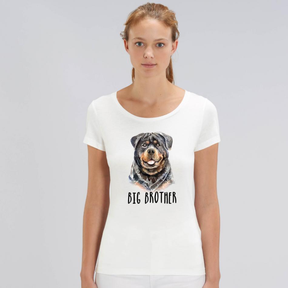 Dámske biele tričko z organickej bavlny Dog Big Brother